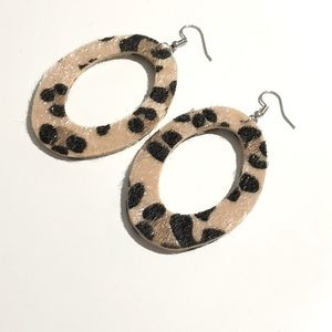 3/$15 Faux Fur Oval Leopard Print Earrings